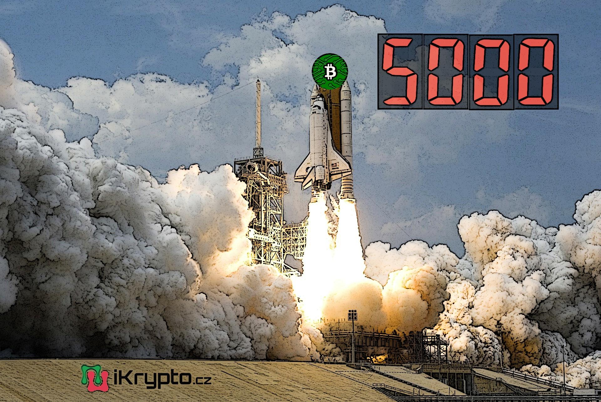 bitcoin vystoupal nad 5000 USD