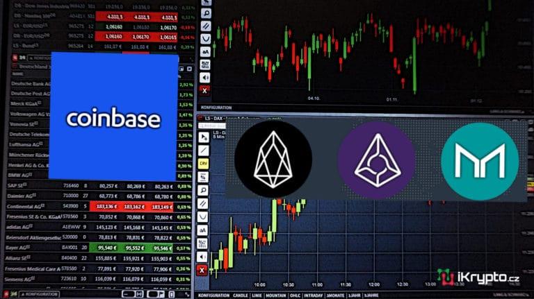 Coinbase nově zalistoval EOS, Augur a Maker